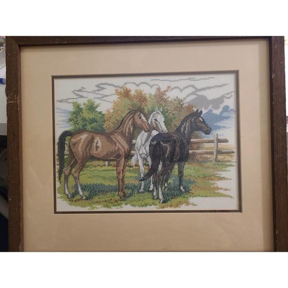 Vintage Cross Stitch Horses Framed Wall Art
